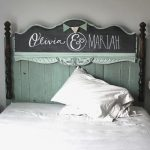 customized chalkboard headboard with names of bed owners