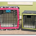cute and beautiful dog crates in pink and green cotton frame