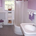 cute bathroom ideas in plurple with bathtub and curtain plus sink and mirror plus towel holder and purple toilet and tile floor