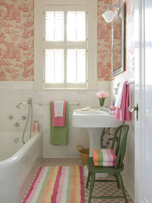cute bathroom ideas with colorful mat and bathtub plus green wooden chairs and wash basin and - Bathroom Decorating Ideas Colors