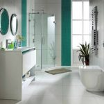 cute bathroom ideas with walk in shower glass and vanity units plus sink and stylish round mirrors and toilet plus plant pot
