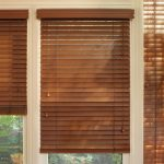 darker brown wood blinds for glass windows