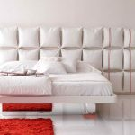 decorative pillow headboard model pure white bedding bright red fury carpet white ceramic flooring light red reading chair