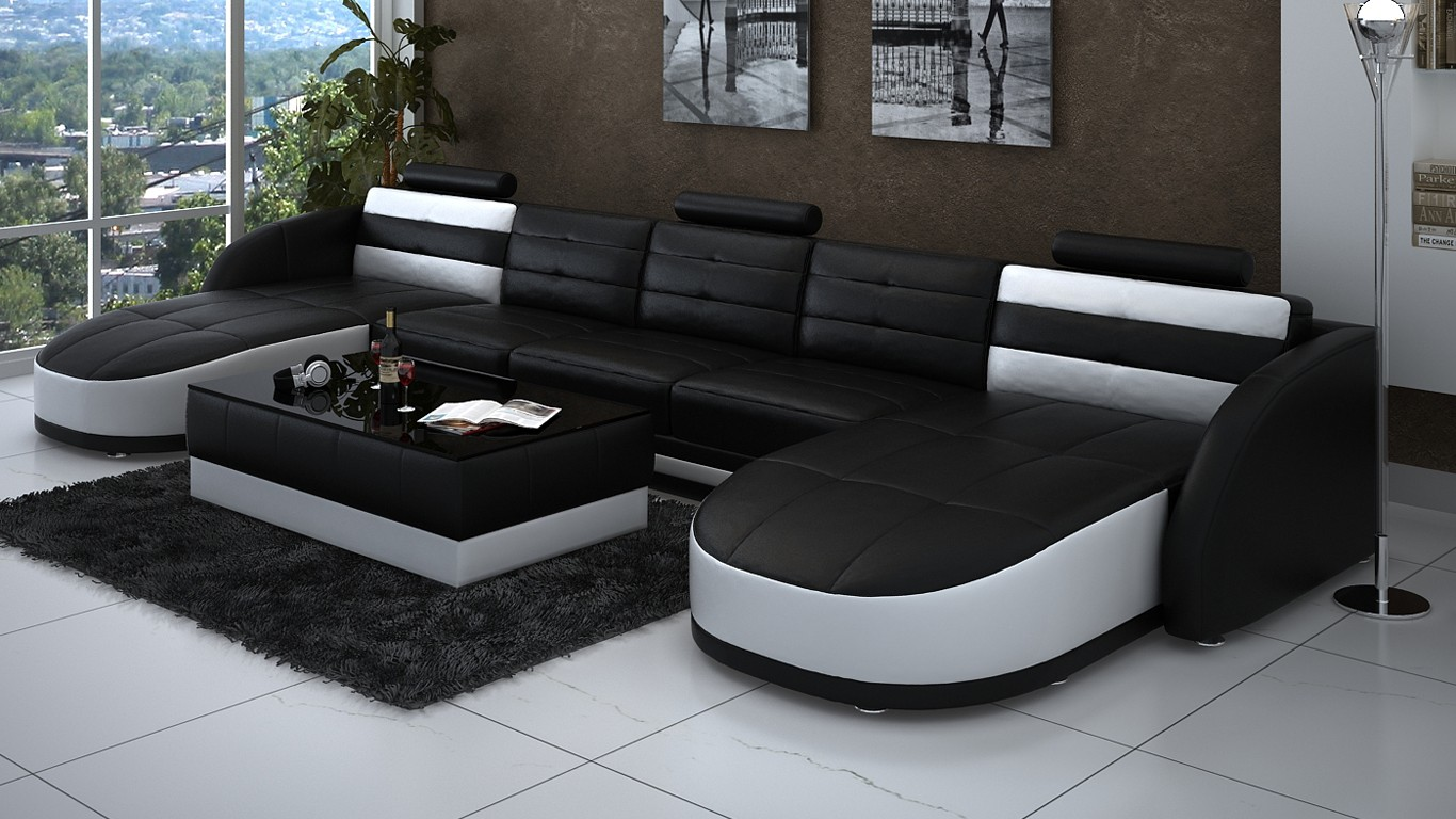 Double Chaise Sectional Sofa In Black And White Thick Black Fury Carpet  White Ceramic Floors Modern