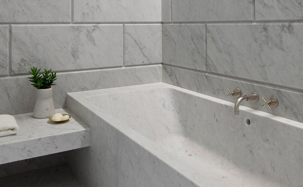 Carrara marble bathrooms how to decorate them homesfeed for Carrara marble bathroom floor designs
