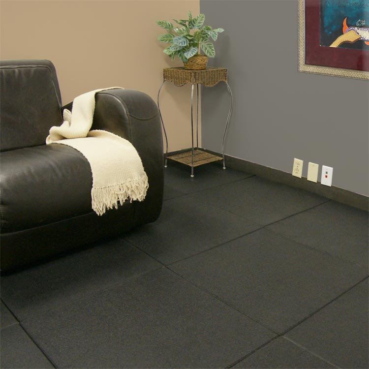 Elegant Black Rubber Flooring For Basement A Black Sofa With White Blanket