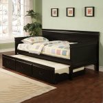 elegant black wood daybed with trundle feature white carpet for dark wood floor
