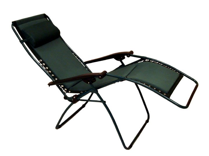Exceptionnel Elegant Lawn Chair In Black With Headrest And Armrest