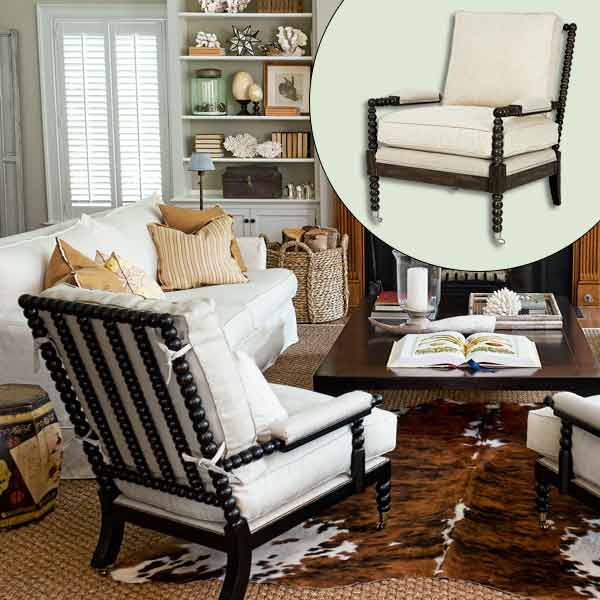 Superieur Elegant White Bolster Design For Black Framed Wooden Spool Chair With  Wheels Upon Brown Patterned Area