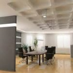 excellent interior design office visualized with pretty coffered ceiling style over wellness grey partition and soothing potted plants plus fetching meeting room sets