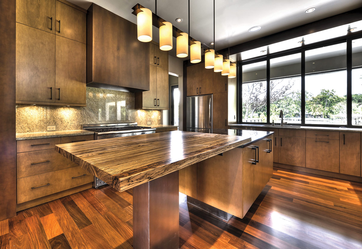 Exotic Large Kitchen Design With Industrial Cabinetry Idea And Stunning  Island Countertop In Inexpensive Style Beneath