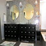 exquisite black white vanity sink cabinet under oval frameless mirrors for lofty bathroom remodel with fantastic budget