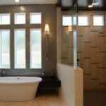 Finest Free Standing Tub Under Glow Sconce Aside Catchy Doorless Shower In Affordable Budget Bathroom Remodel In Two Tones Theme