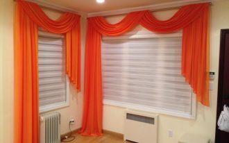 flashing orange horizontal window blind design with white additional drape on white window upon crea floor