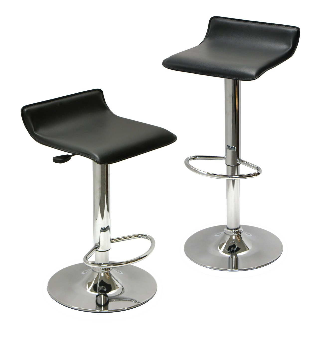 Flexible Modern Bar Stool Design With Black Leather Bolster For Seating And Backrest Less Wit