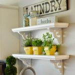 floating plant shelves for herbs in yellow pots