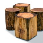 four different size tree stumps side table deign in rectangle and round model upon white floor