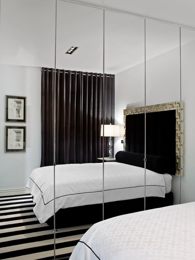 Frameless Wall Mirror For Bedroom A Cozy And Big Bed Furniture In Black  Theme Black And