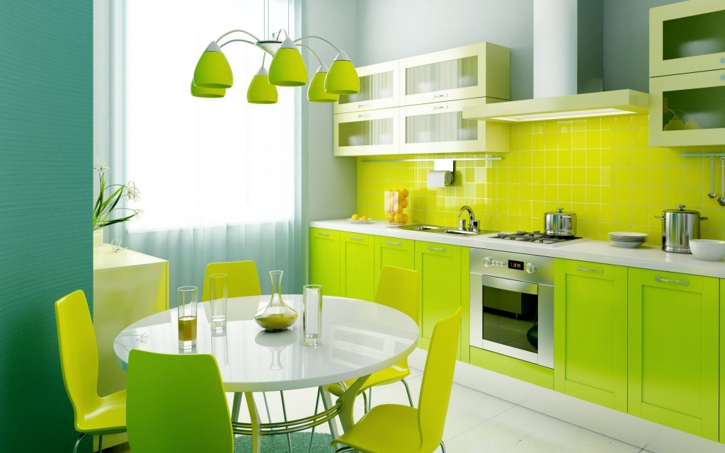 Fresh Green Interior Exterior Painting Of Kitchen With Wooden Cabinets Plus Back Splash