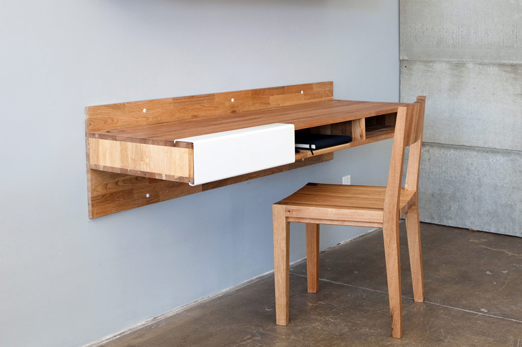 full wood floating table with storage on its bottom a wood chairs in simple  design