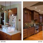galley small kitchen remodel before and after with new cabinet furnishing and stove oven  and stylish pendant lamp above kitchen island plus bar stool and backsplashes