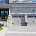 garage door costco in carriage house with cool white door and stylish door panels and windows on top plus granite wall