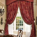 glamourous window treatments dallas in red color and modern crisscross style for dining room