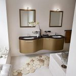 gold cute bathroom ideas with wall vanity units and double sinks and mirrors and towel holder and unique foot step floor and blinds on windows