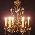 gold hang chandelier with crystal and electric candles