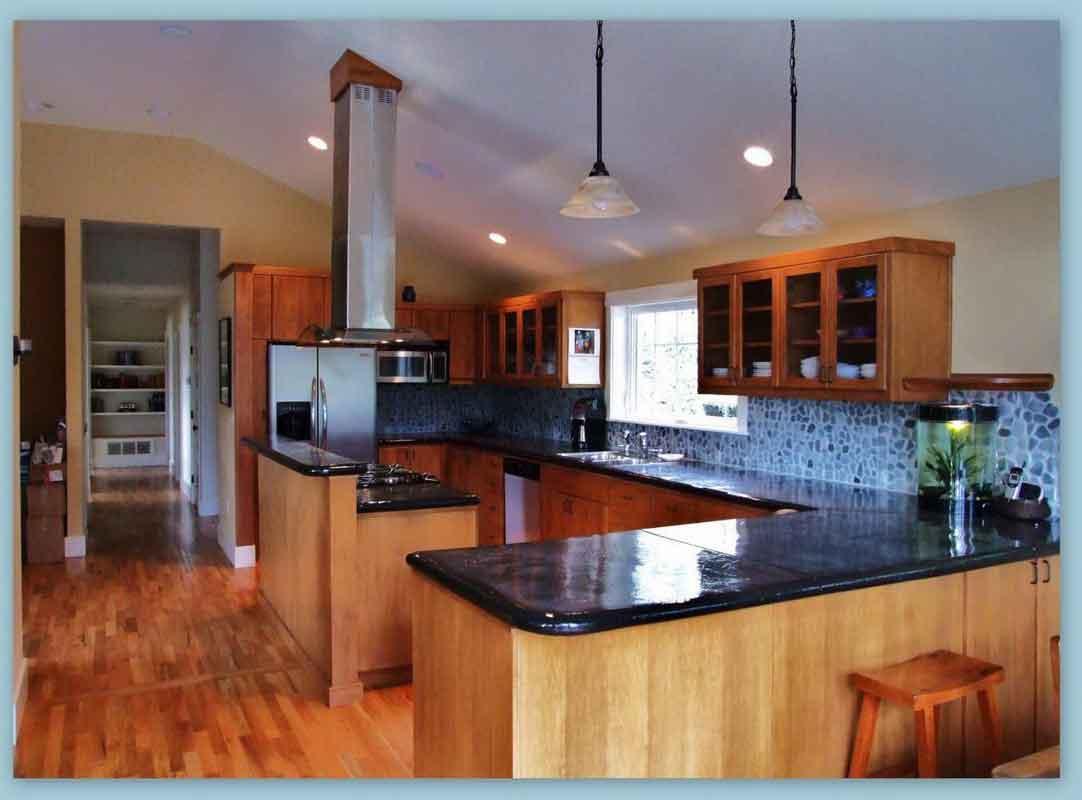 Gorgeous Black Kitchen Cabinet Countertop Beneath Casual Pendant Lamps With  Flashing Blue Backsplash Beneath Awesome Decorative