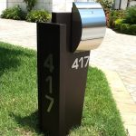 gorgeous brown modern mail box idea with aluminium accent and 417 code number upon grassy meadow aside concrete pathway