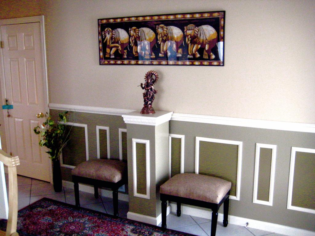 Chair Rails Ideas Part - 29: Gorgeous Combination Of Gray And Green Colors On White Wall With Chair Rail  Molding Idea With