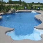 gorgeous flower shaped swimming pool design with concrete patio surrounding and stain ladders aside greenery