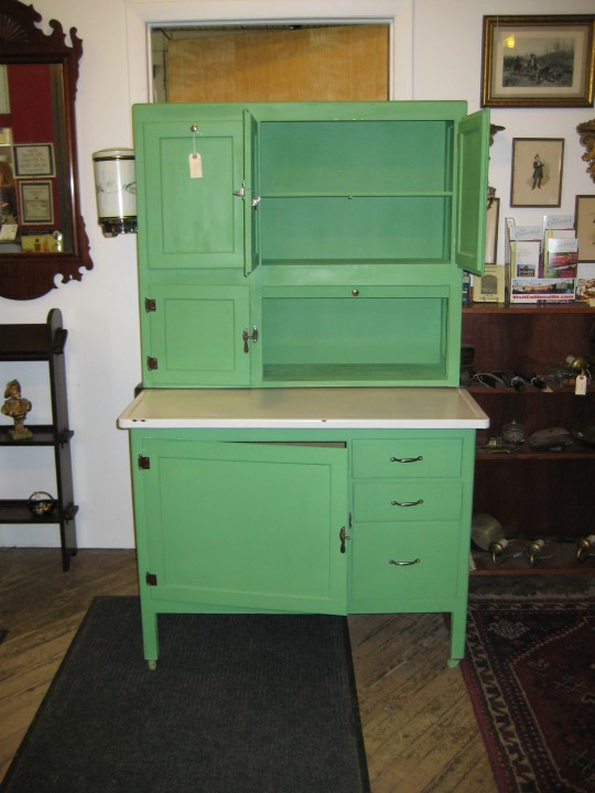gorgeous green antique kitchen cabinet design with open and close storage  with four legs and drawers - Go Vintage With Antique Cabinet For Chic Kitchen HomesFeed
