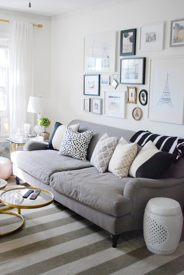 Gorgeous Grey Living Room Design With Gray Velvet Sofa Design And Zebra  Patterned Cushion Beneath Wall