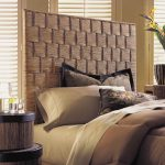 gorgeous straw cane headboard design in brown bedroom idea with bold comfortable quilt and bedding set aside round nightstand and blind