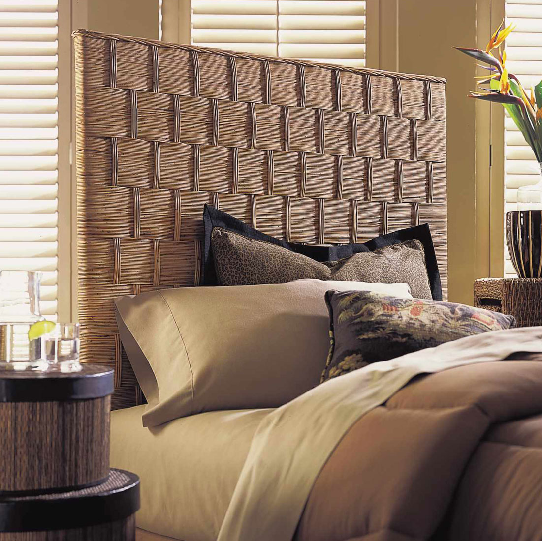 Gorgeous Straw Cane Headboard Design
