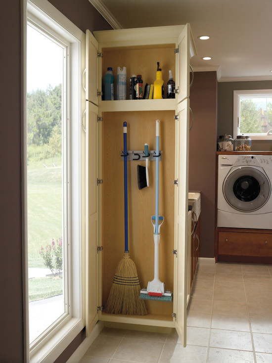Genial Gorgeous White Broom Closet Design With Yellow Inner And Broom Hooks And  Rack For Cleanser Solution