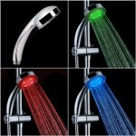 green blue and red lighting shower heads