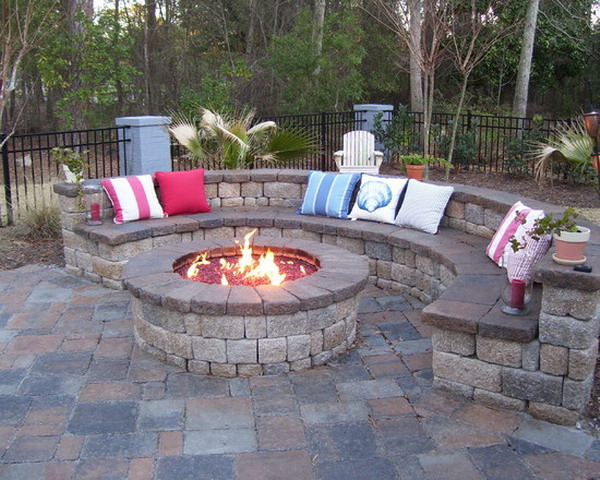 Half Circle Built In Seating For Outdoor Patio With Round Fire Pit And  Colorful Ornamental Pillows