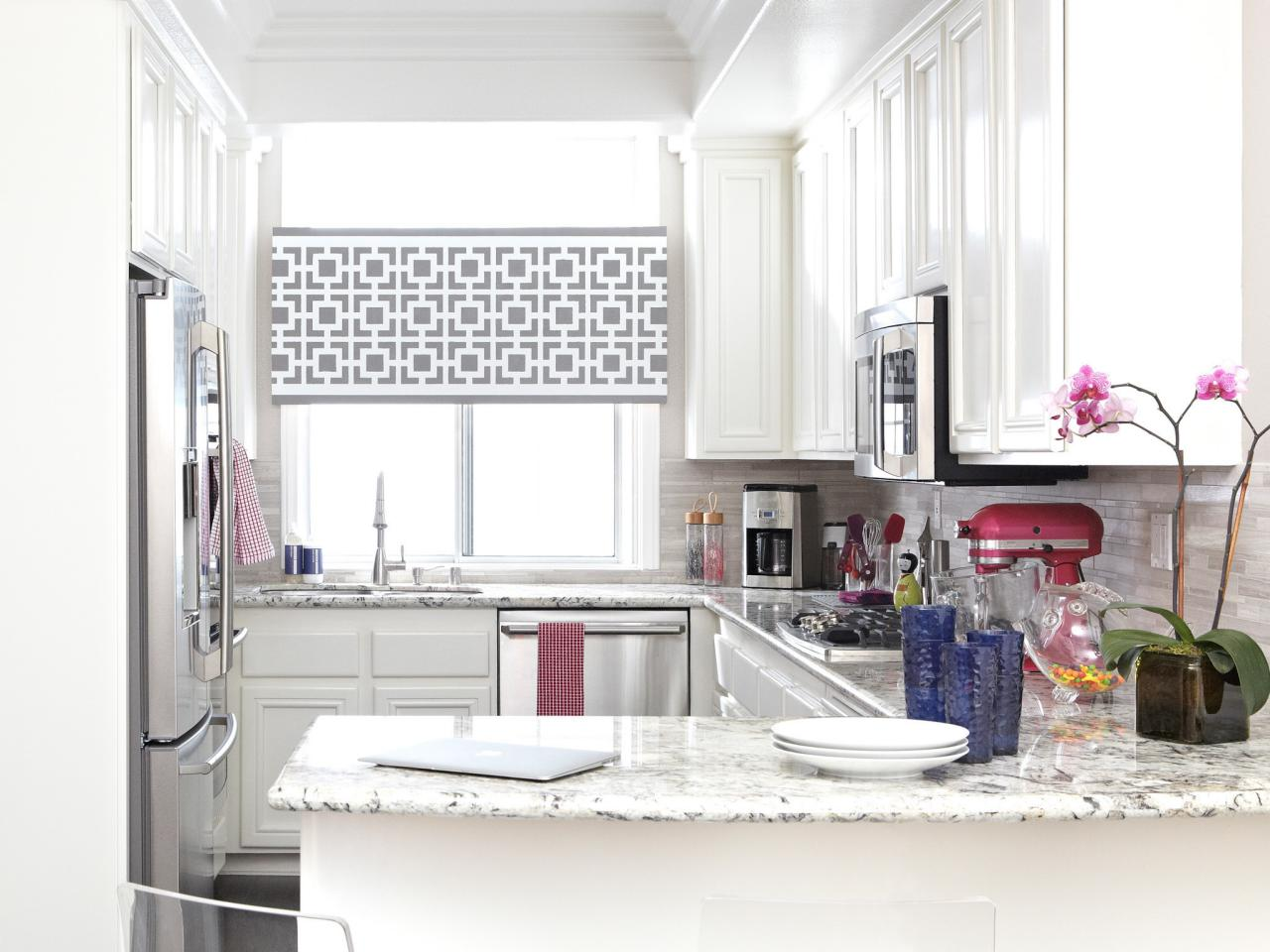 Half Way Window Curtain In Grey And White Patterns L Shape Kitchen Counter  Kitchen Cabinet System