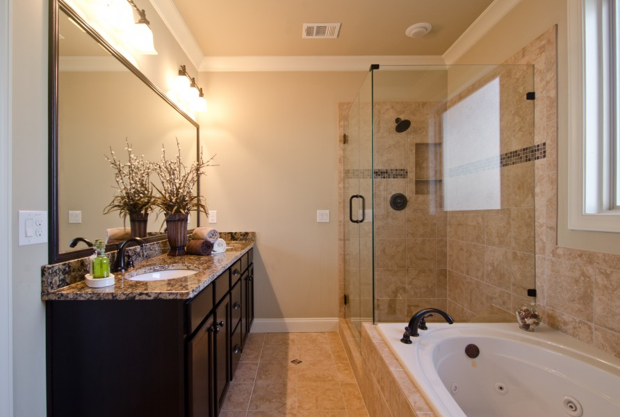Impressive Master Bathroom Remodel With Bathtub And Stylish Vanity Units Dark Wooden Sink