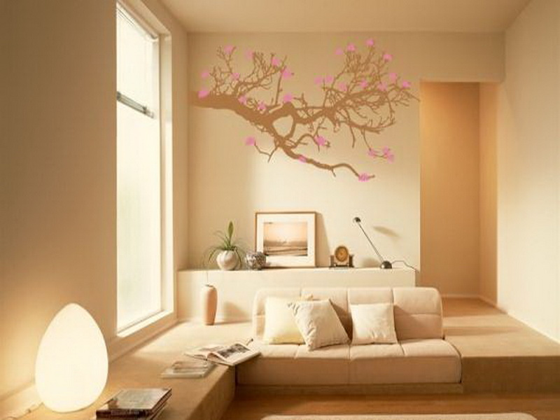 Interior Exterior Painting In Living Room With Cream Paint Color Scheme Wall Stickers And Sofa
