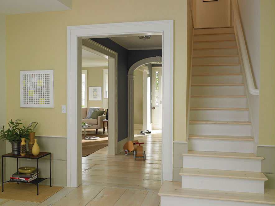 Interior Exterior Painting With Natural Paint Color Scheme Plus Wooden Floor And End Tables Art