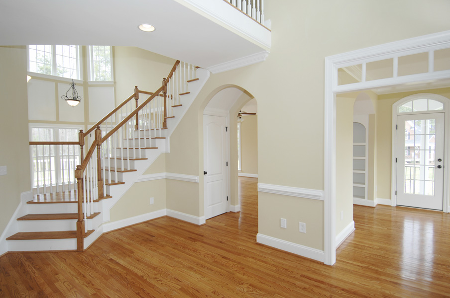 Interior Exterior Painting With Soft Wall Color Schemes And Stairs Plus  Wooden Laminating Floor And Beautiful
