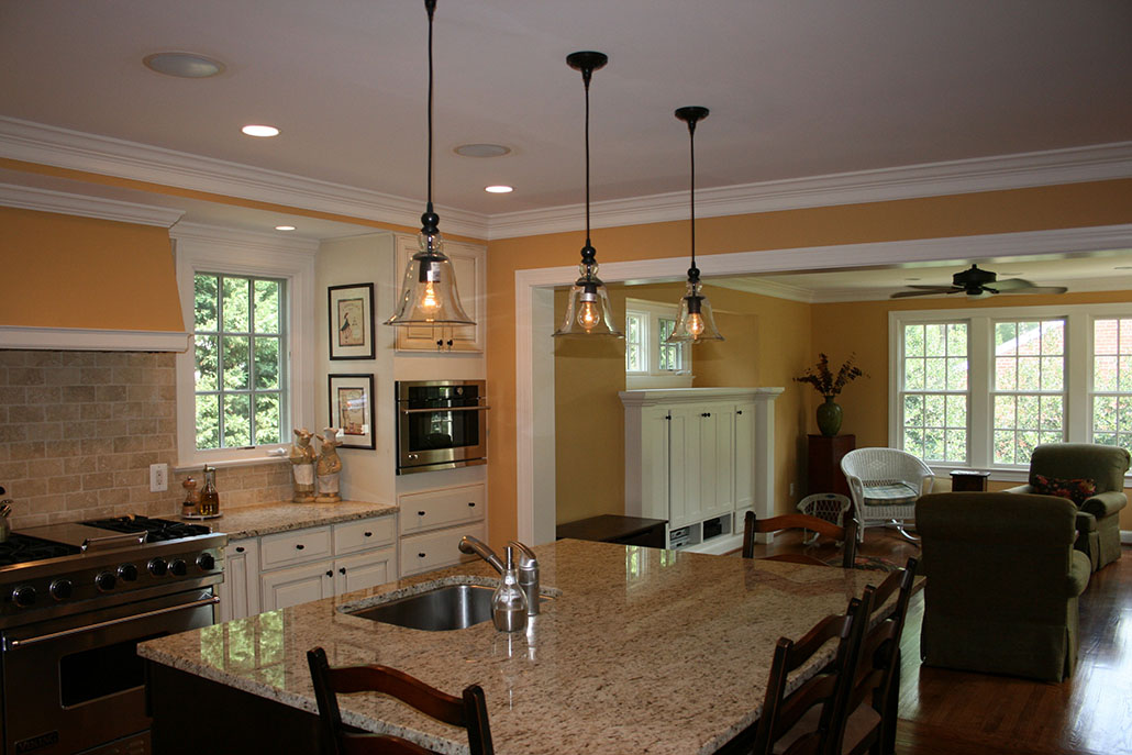 kitchen remodeling northern virginia with wooden kitchen cabinets and kitchen island with sink and pendant lamps - Kitchen Cabinets Northern Virginia