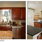 Kitchen Renovations Before And After With Light Cabinets And Granite Countertop Plus Unique Pendant Limpt On Kitchen Islsnd With Dark Furnishing And Wooden Laminating Floor