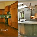 kitchen renovations before and after with turqouise cabinets with granite countertop plus tile back splashes and sink and chandeliers plus wood laminating floor