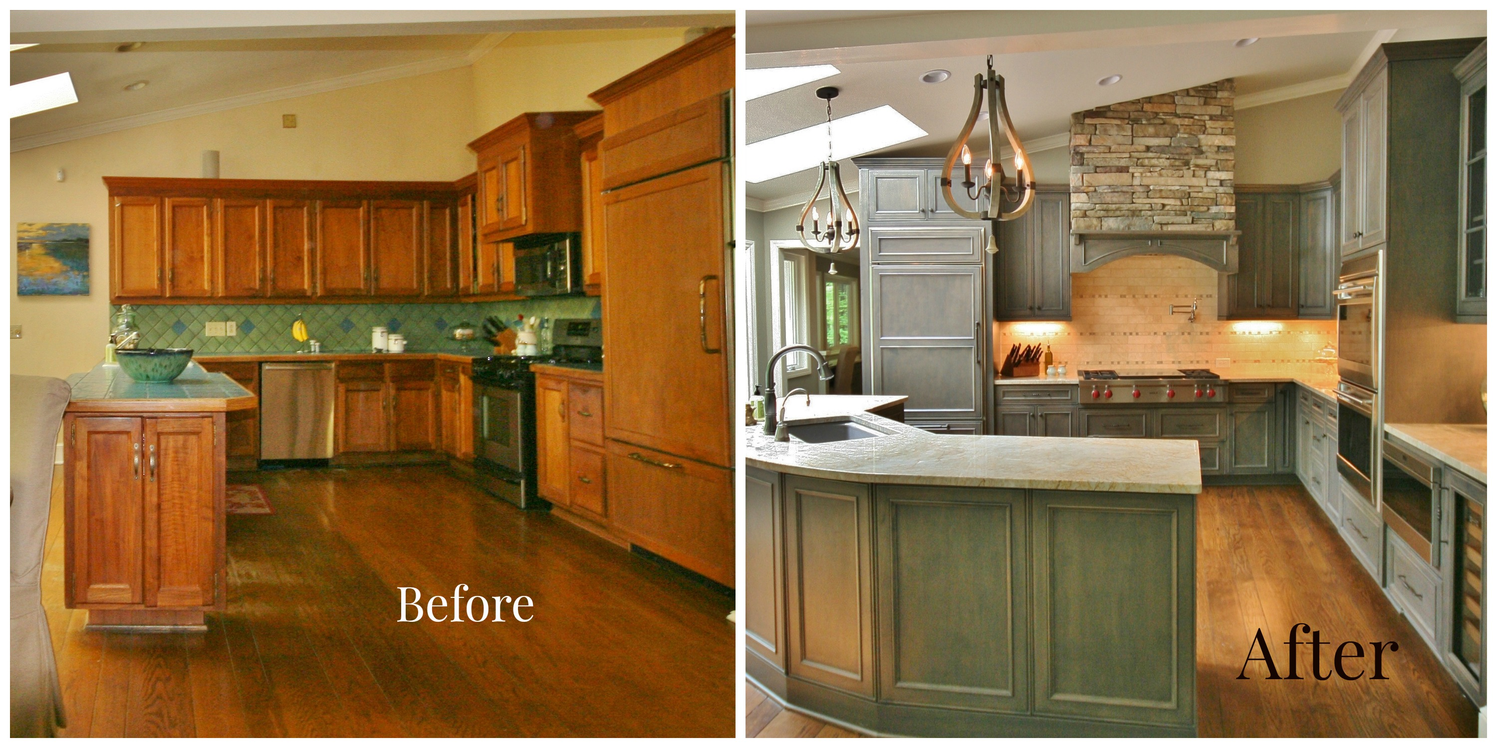 Kitchen Renovations Before And After With Turqouise Cabinets With Granite  Countertop Plus Tile Back Splashes And