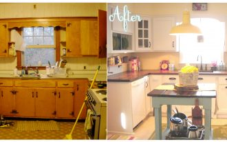 kitchen renovations before and after with white cabinets and wooden countertop and sink combined with table at the center with pendant lamp